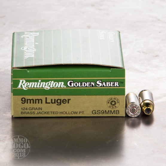 25rds - 9mm Remington Golden Saber 124gr. HP Ammo