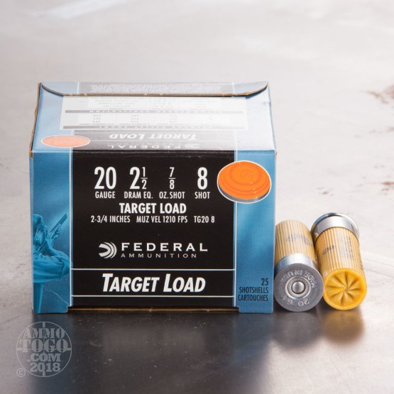 "25rds - 20 Gauge Federal Top Gun Target Load 2 3/4"" 7/8oz. #8 Shot Ammo"