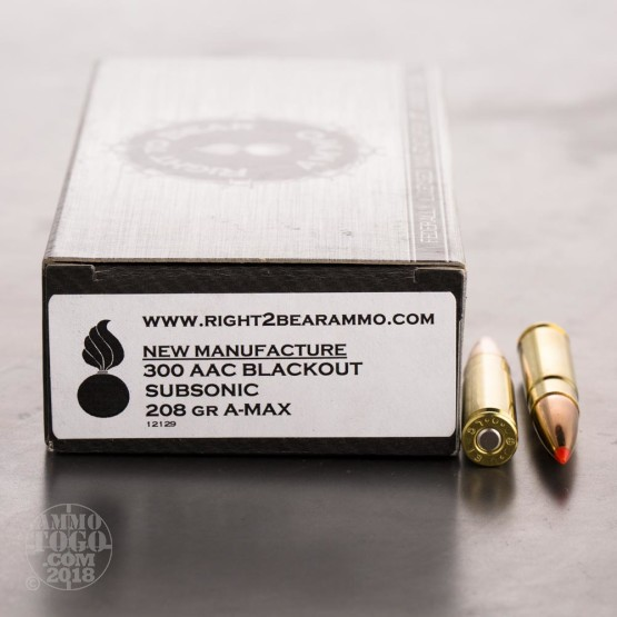 200rds - 300 AAC BLACKOUT Right To Bear Subsonic 208gr. A-Max Polymer Tip Ammo