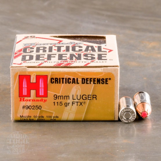 25rds - 9mm Hornady Critical Defense 115gr. HP Ammo