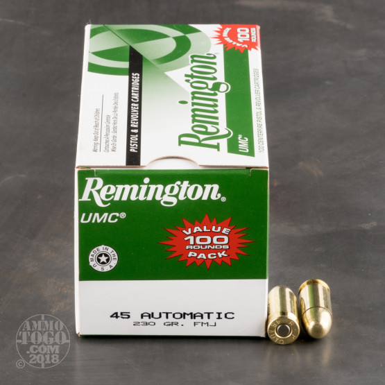100rds - 45 ACP Remington UMC 230gr. MC FMJ Value Pack Ammo