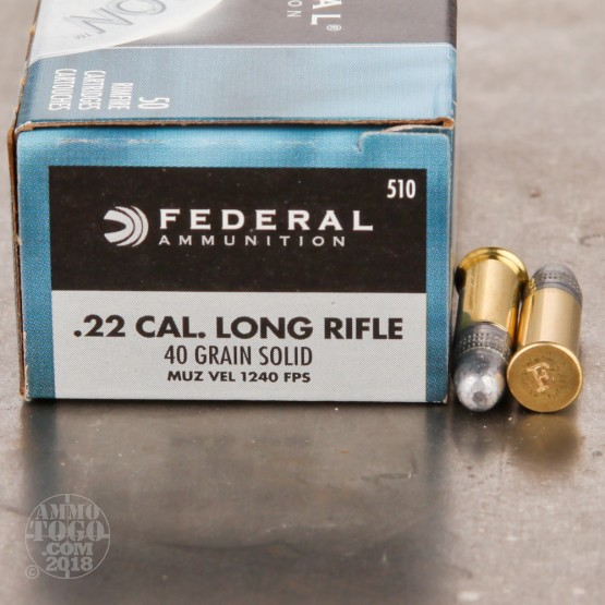 50rds - 22LR Federal Champion 40gr. Solid Point Ammo