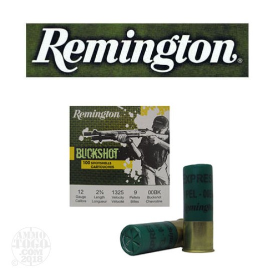 "100rds - 12 Gauge Remington 2 3/4"" 9 Pellet 00 Buckshot Value Pack Ammo"