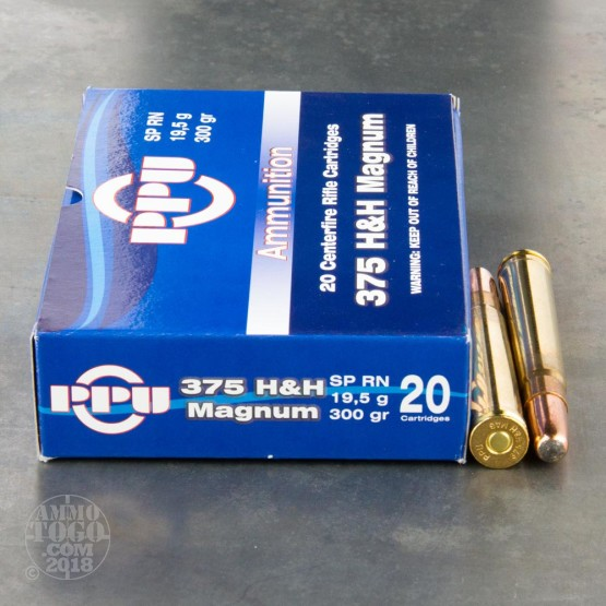 20rds - 375 H&H Mag Prvi Partizan 300gr. Round Nose Soft Point Ammo