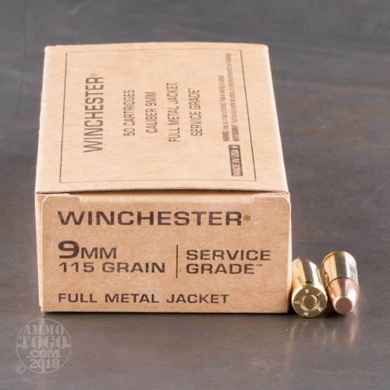 500rds - 9mm Winchester Service Grade 115gr. FMJ Ammo