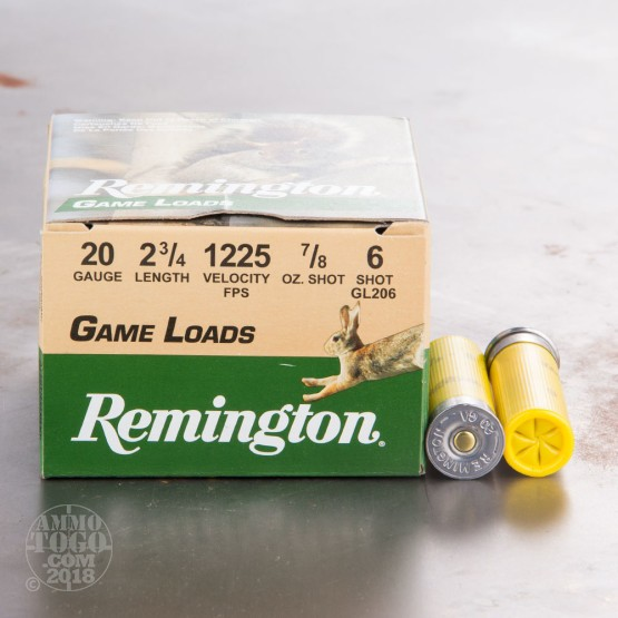 "250rds - 20 Gauge Remington Game Load 2 3/4""  7/8oz. #6 Shot Ammo"