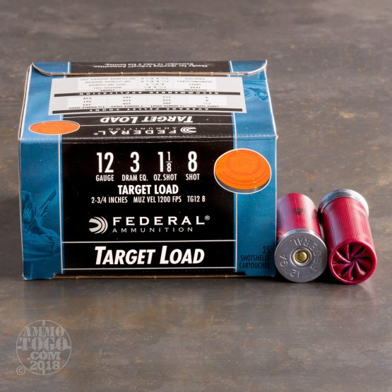 "25rds - 12 Gauge Federal Target Load 2 3/4"" 3 Dram 1 1/8oz. #8 Shot Ammo"
