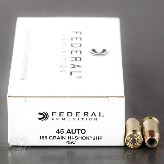 50rds - 45 ACP Federal LE Hi-Shok 185gr. Hollow Point Ammo