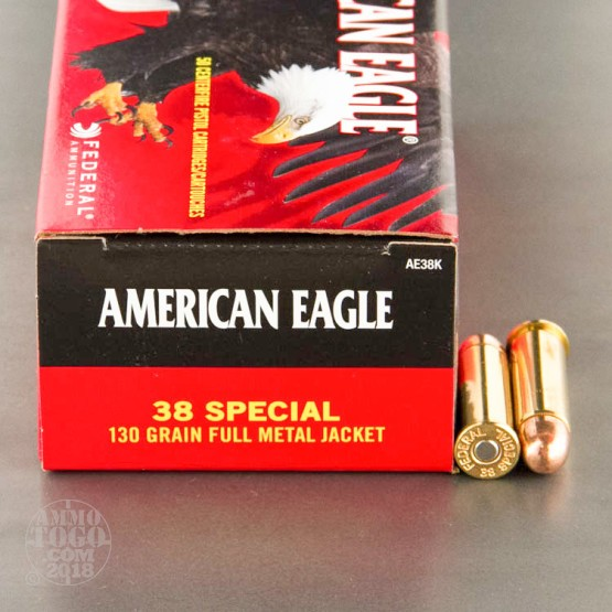 50rds - 38 Special Federal American Eagle 130gr. FMJ Ammo