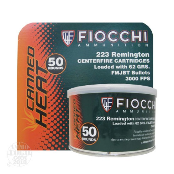 50rds - .223 Fiocchi Canned Heat 62gr. FMJBT Ammo