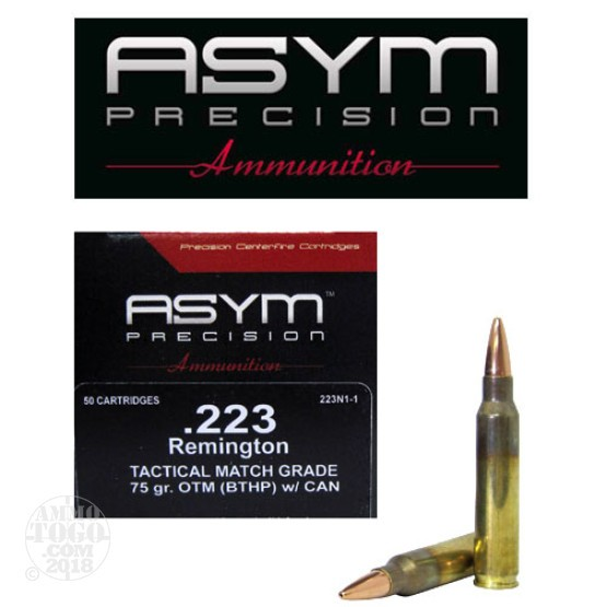50rds - 223 ASYM Tactical Match Grade 75gr. OTM (BTHP) w/Cannelure Ammo