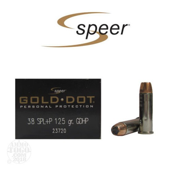 20rds - 38 Special Speer Gold Dot 125gr. +P HP Ammo