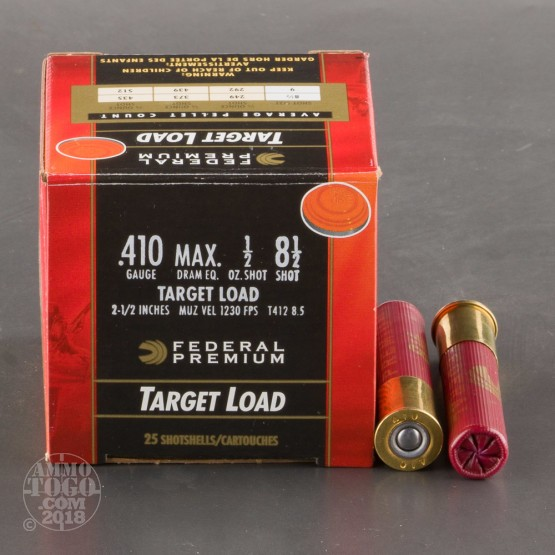 "25rds - 410 Gauge Federal Gold Medal 2 1/2"" 1/2oz. #8 1/2 Shot Ammo"