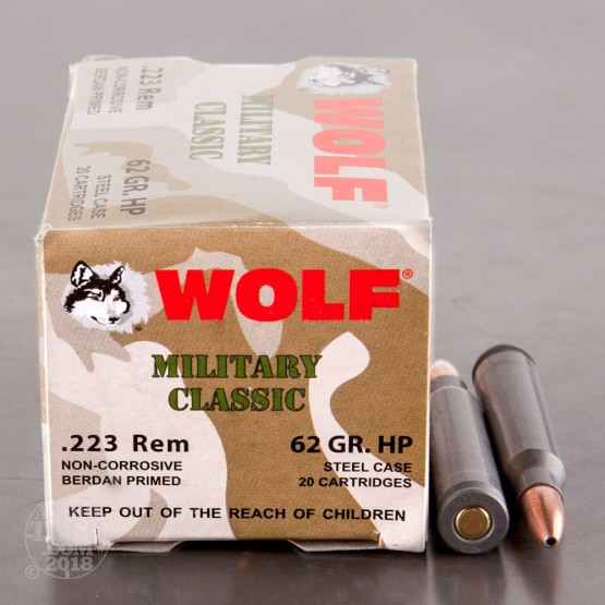 500rds - 223 Rem Wolf WPA Military Classic 62gr. HP Ammo