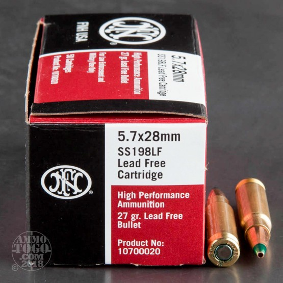 50rds - 5.7x28mm FN SS198LF 27gr. Lead Free Hollow Point Ammo
