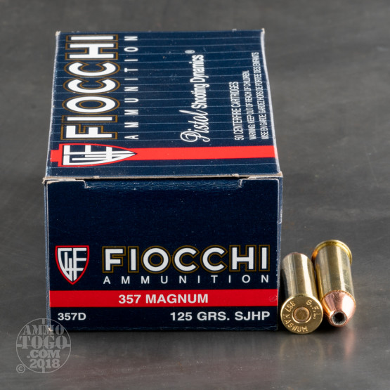 50rds - 357 Magnum Fiocchi 125gr Semi-Jacketed Hollow Point Ammo
