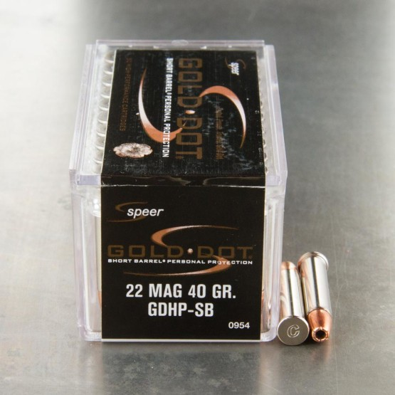 50rds - 22 Mag Speer 40gr. Gold Dot Hollow Point Ammo