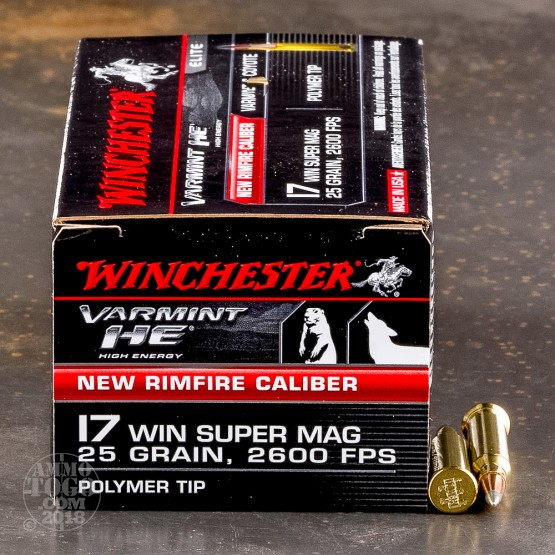 50rds - 17 Win Super Mag Winchester Varmint HE 25gr. Polymer Tip Ammo
