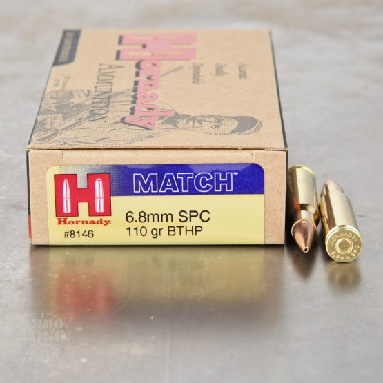 200rds - 6.8 SPC Hornady 110gr. Boattail Hollow Point Ammo