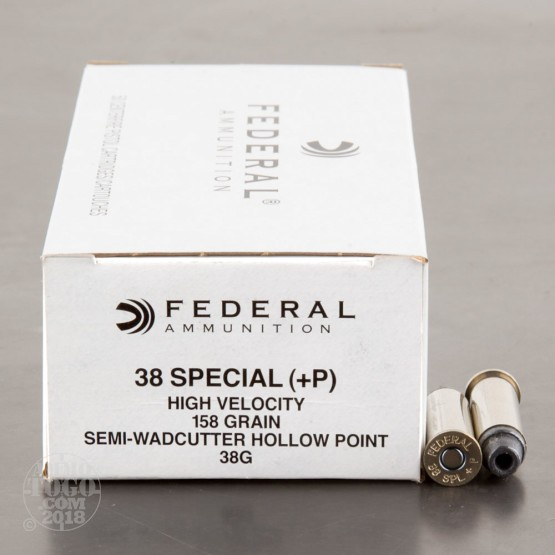 50rds - 38 Special Federal LE 158gr. +P Semi-Wadcutter HP Ammo
