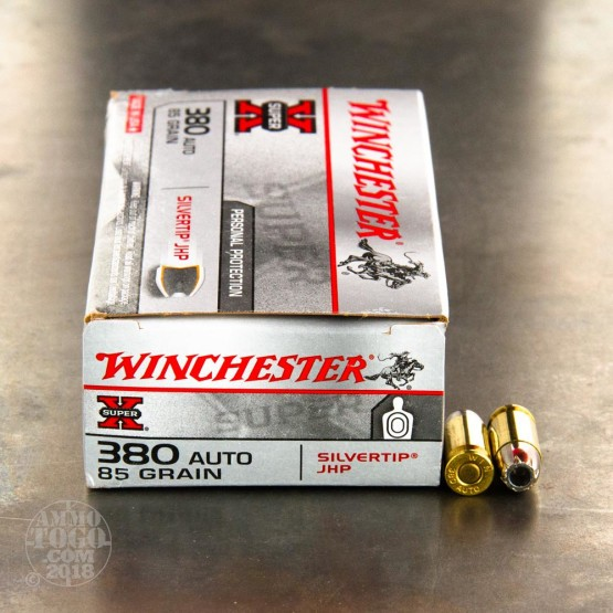 50rds - .380 Auto Winchester Super-X 85gr. Silver Tip Hollow Point Ammo