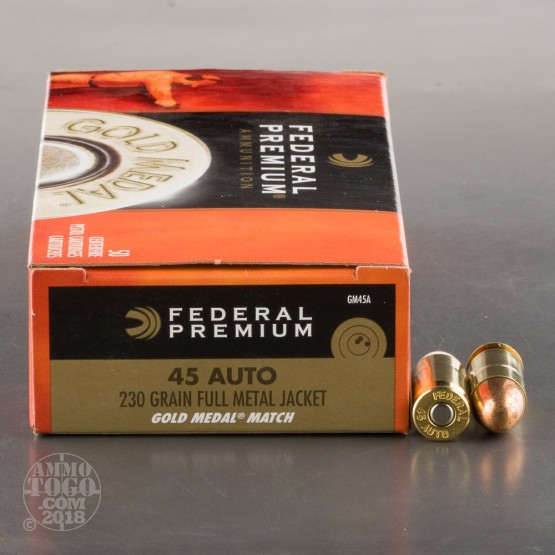 50rds - 45 ACP Federal Gold Medal Match 230gr. FMJ Ammo