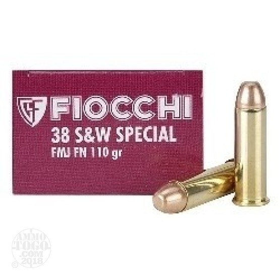 1000rds - 38 Special Fiocchi 110gr +P FMJ Flat Nose Ammo