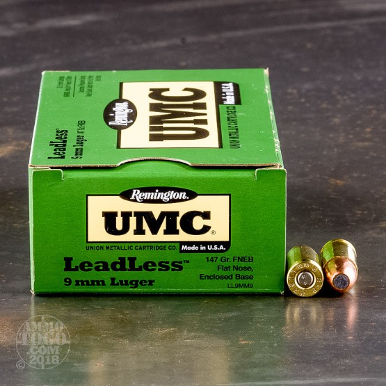 50rds - 9mm Remington UMC 147gr Flat Nose Enclosed Base Leadless