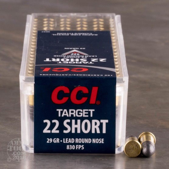 100rds - .22 Short Target CCI 29gr. Lead Round Nose Ammo