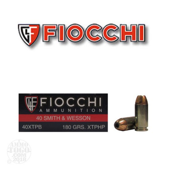 50rds - 40 S&W Fiocchi 180gr. XTP Hollow Point Ammo