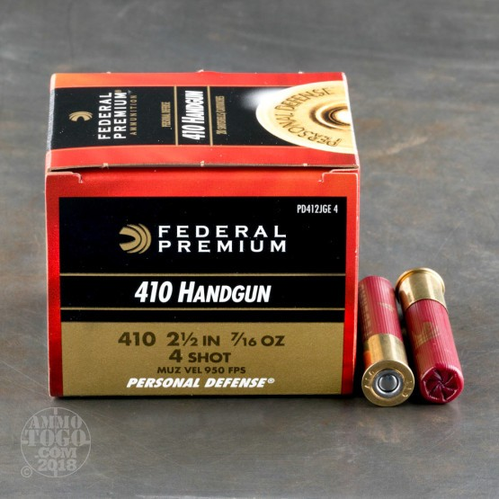 "20rds - 410 Gauge Federal Personal Defense 2 1/2"" #4 Shot Ammo"