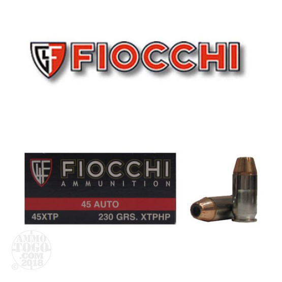 50rds - 45 ACP Fiocchi 230gr. XTP Hollow Point Ammo
