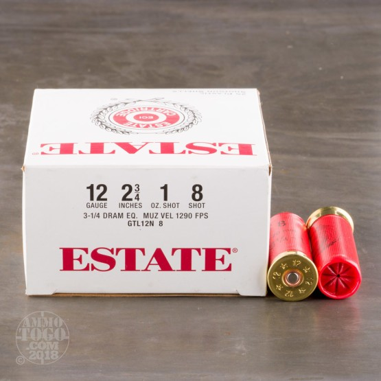 "25rds - 12 Gauge Estate 2 3/4"" 3 1/4 Dram 1oz. #8 Shot Ammo"