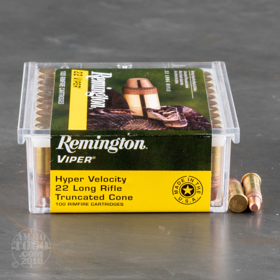 100rds - 22LR Remington Viper 36gr. HV Truncated Solid Base Ammo