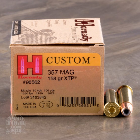 25rds - 357 Mag Hornady 158gr. XTP Hollow Point Ammo