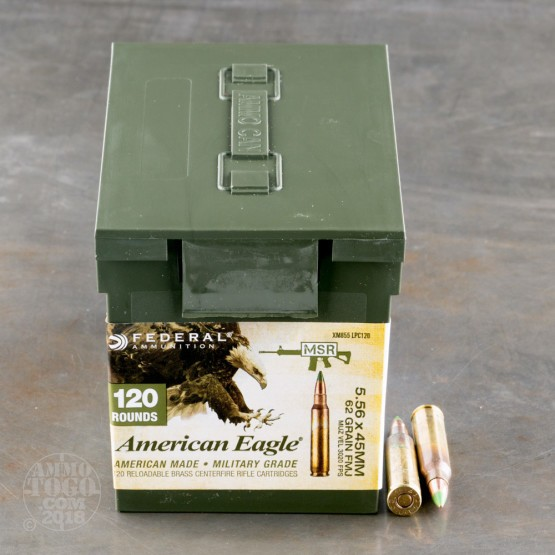 600rds - 5.56 Federal American Eagle XM855 62gr. FMJ Penetrator Ammo in Mini Ammo Can