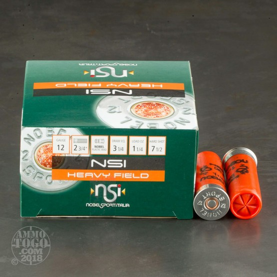 "25rds - 12 Gauge NobelSport Hunting 2 3/4"" 3 1/4 Dram 1 1/4oz. #7 1/2 Shot Ammo"