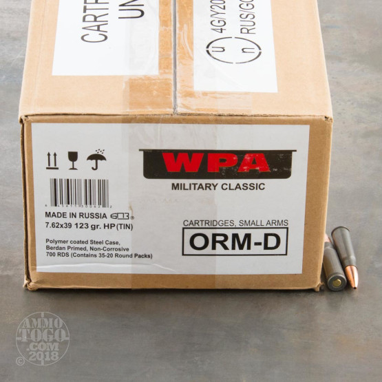 700rds – 7.62x39 Wolf Military Classic 123gr. HP Ammo in Sealed Spam Can