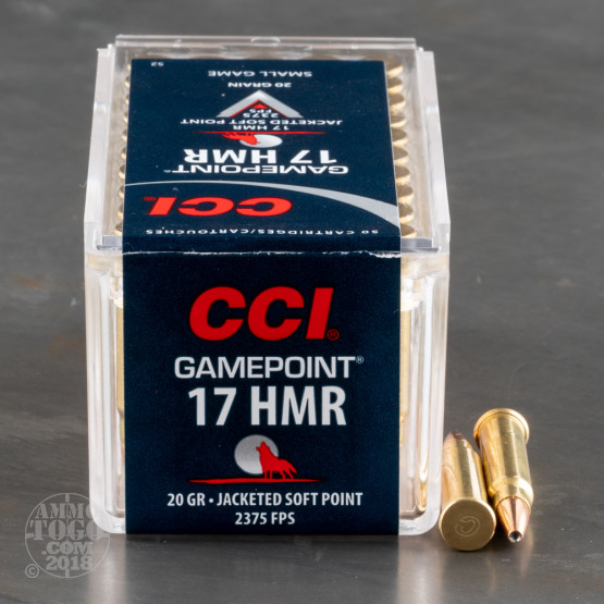 50rds - .17 HMR CCI Game Point 20gr. Soft Point Ammo