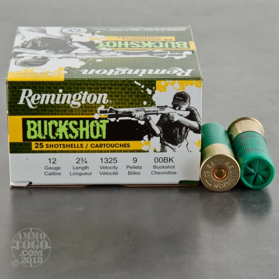 "25rds - 12 Gauge Remington Express Value Pack 2 3/4"" 9 Pellet 00 Buckshot Ammo"