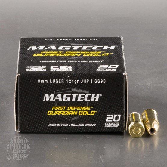 20rds - 9mm MAGTECH Guardian Gold 124gr. HP Ammo
