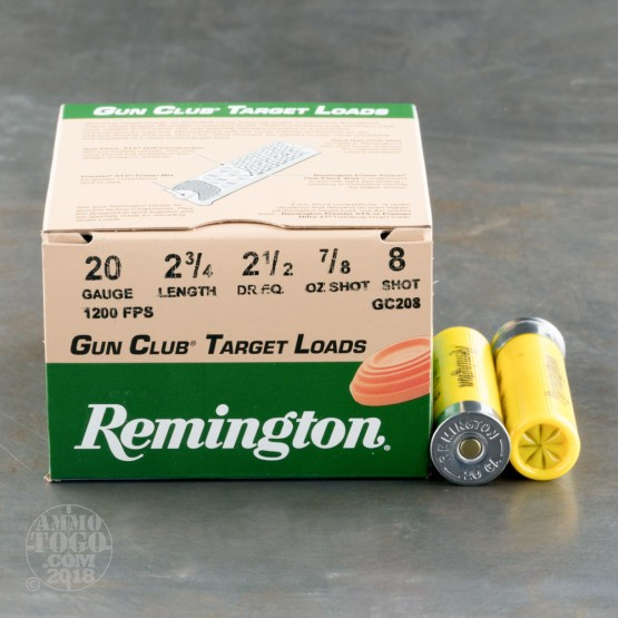 "250rds - 20 Gauge Remington Gun Club 2 3/4""  7/8oz. #8 Shot"