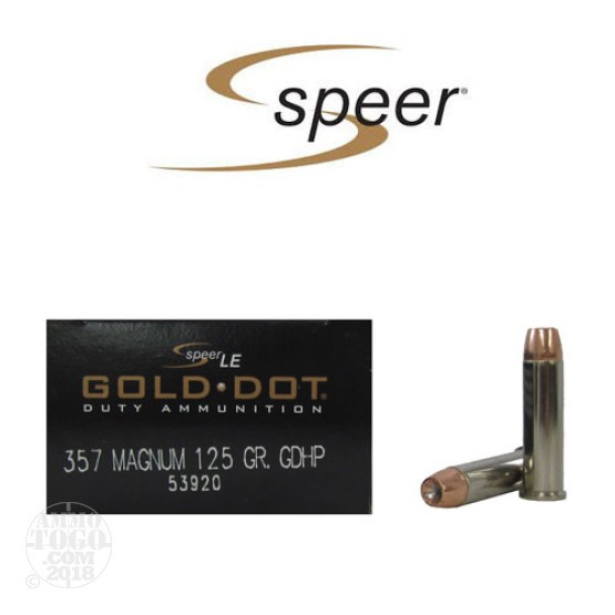 50rds - 357 Mag Speer LE Gold Dot 125gr. Hollow Point
