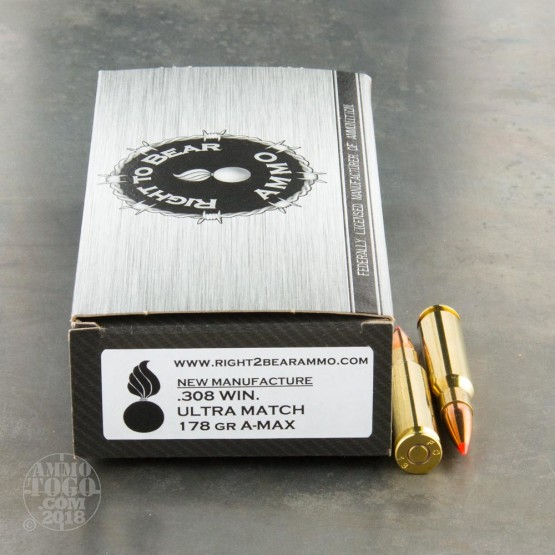 20rds - 308 Win. Right To Bear Ultra Match 178gr. A-MAX Long Range Ammo