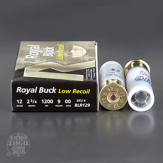 "5rds – 12 Gauge Rio Royal Buck Low Recoil 2-3/4"" 9-Pellet 00 Buckshot Ammo"
