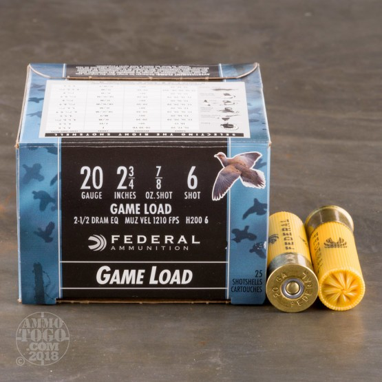"25rds - 20 Gauge Federal Game Shok 2 3/4"" 7/8oz. #6 Shot Ammo"