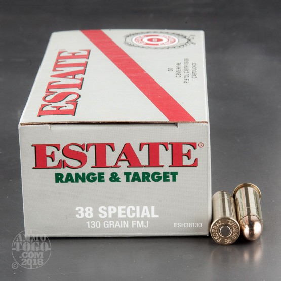 50rds - 38 Special Estate 130gr. FMJ Ammo
