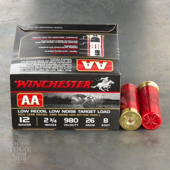 "250rds – 12 Gauge Winchester AA Low Recoil Target 2-3/4"" 7/8 oz. #8 Shot Ammo"