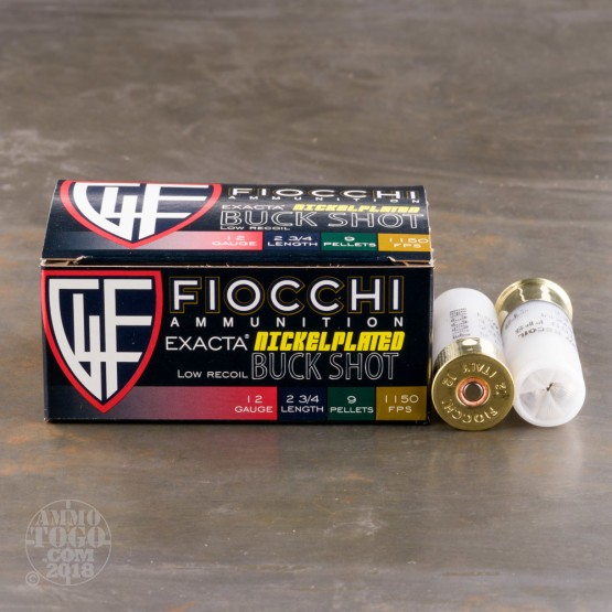 "10rds - 12 Gauge Fiocchi Reduced Recoil 2 3/4"" 9 Pellet Nickel Plated 00 Buckshot Ammo"