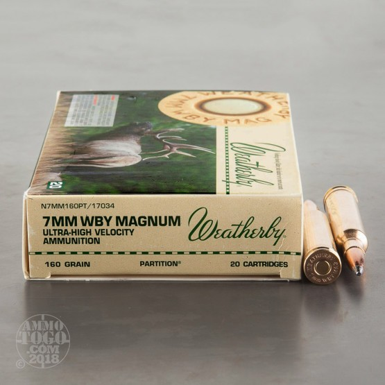 20rds - 7mm Weatherby Mag. 160gr. Nosler Partition Ammo